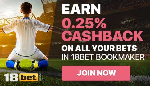 18bet - Earn 0.25% on all your bets with Blogabet cashback!