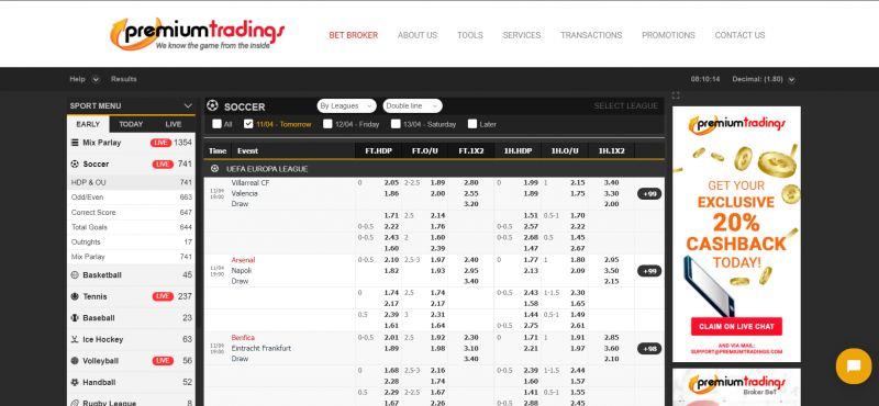 Premium tradings betting online soccer betting asia