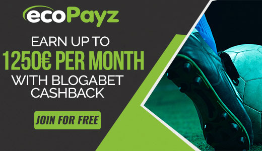 ecoPayz - Earn up to 1250€ per month with Blogabet cashback!